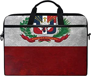 """SLHFPX Laptop Bag Coat of Arms Dominican Republic 14"""" 15"""" Laptop Case Notebook Briefcase Tablet Handbag Sleeve Computer Backpack with Shoulder Strap Handle for Men Women Travel Business School"""
