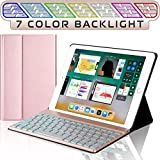 iPad Keyboard Case for New 2018 iPad, 2017 iPad, iPad Pro 9.7, iPad Air 1 and 2 – Bluetooth Backlit Detachable Quiet Keyboard – Slim Leather Folio Cover – 7 Color Backlight – Apple Tablet (9.7, Rose)