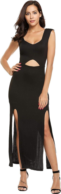 OYTRO Women Sleeveless Hollow Out Split Stretchy Bodycon Party Maxi Dress Tunics