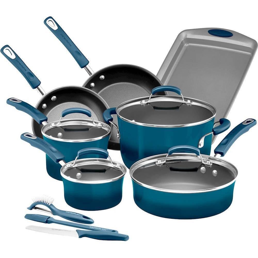 Amazon.com: Rachael Ray 14 Piece Hard Enamel Nonstick Cookware Set ...