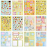 Gimars Handwriting Happy Planner Stickers and Decorative Sticker Collection for Kids DIY Crafts, Scrapbooking, Calendars, Arts, Album, Bullet Journals-12 Sticker Sheets Per Pack