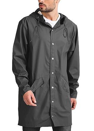 0a258a5301a13 JINIDU Men's Lightweight Waterproof Rain Jacket Packable Hooded Long  Raincoat Windbreaker Jackets Grey