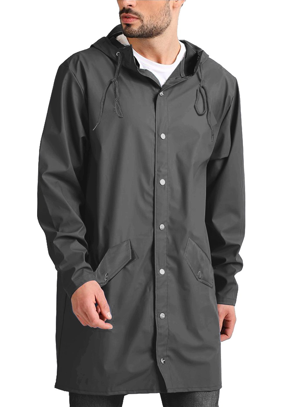 COOFANDY Men's Lightweight Waterproof Rain Jacket Packable Outdoor Hooded Long Raincoat,Grey,Large by COOFANDY