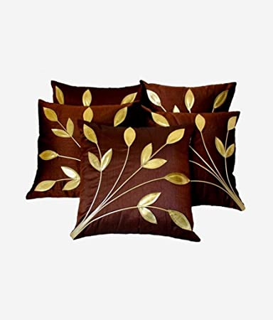 FabLooms Polysilk Leaf Design Cushion Covers (40.64 x 40.64cm, Brown and Golden) - Set of 5 Cushion Covers at amazon