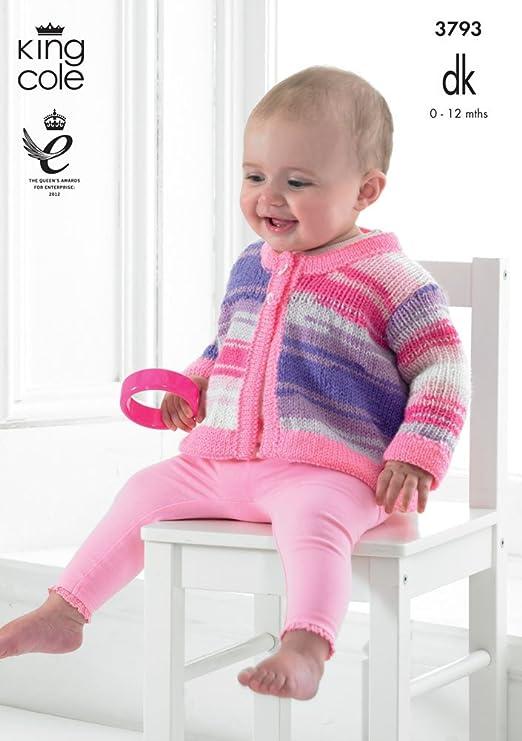 King Cole bebé vestido y chaqueta flash DK patrón para tejer 3793 ...