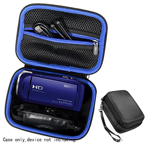 Semi-hard Camcorder Case for Sony HD Video Recording HDRCX405, HDRCX440 Handycam; Canon VIXIA HF R800, Panasonic HC-V180K and Kimire HD Recorder, Professional Hard Case with SD, Memory Card Pockets, by Go Gear