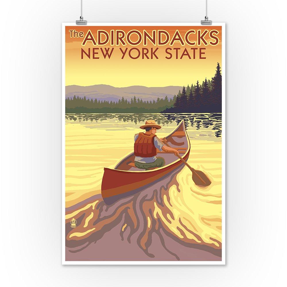 Amazon.com: The Adirondacks, New York - Canoe Scene (10x15 Wood Wall ...