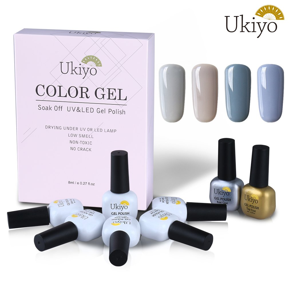 Ukiyo 4pcs Soak Off Kit Smalto Semipermanente Brillante Base E Top