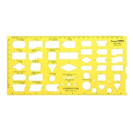 Flow Chart Flowsheet Process Diagram Symbols Drawing Template Kt Soft Plastic Ruler Design Board Lab Scientific Supplies Science Education 1 X