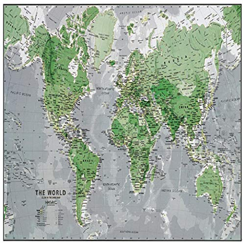 IslandseCreative Luminous Map of World Children's Early Education Light-Emitting Wallpap Gray