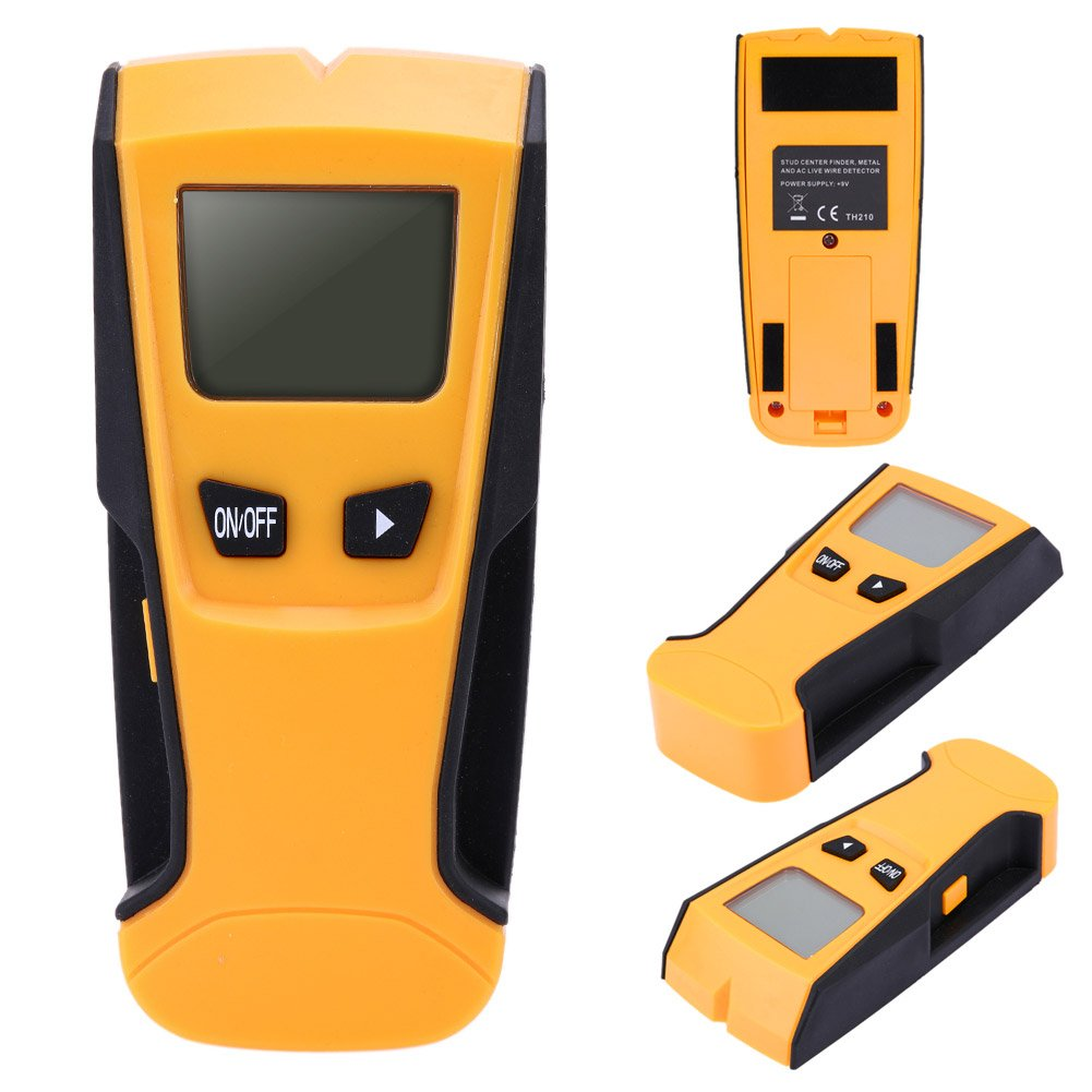 Digital Multi-Function Stud Finder, Cable Pipe Detector Back-Lit Display Auto Power-Off Detecting Wood,Wall, Metal Pipe(Yellow+Black)