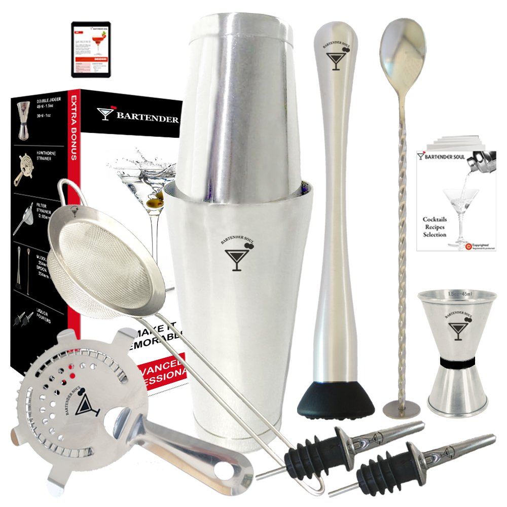 Bartender Soul Full Professional Boston Cocktail Set 18 & 28oz 0.8mm Double Flair Weighted Shaker, Hawthorne and Fine Strainers, Jigger, Muddler, Spoon and Pourers - All 18/8 Quality Steel Kit