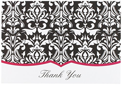 "Great Papers! Classic Damask Fuchsia Thank You Cards, Envelopes, 4.875""x3.375"", 50 Count (20103808)"