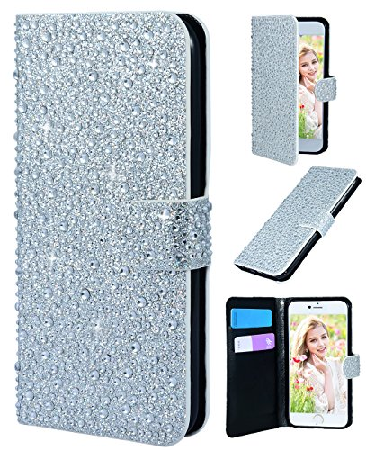 [iPhone 6/6s wallet case,FLYEE Bling Crystal 3D Raindrop Pattern Sparkly PU Wallet Protective Case with Magnetic Button Closure Perfect Fit for Apple iphone 6s 4.7 inch(silver)] (Raindrop Pattern Protective Case)