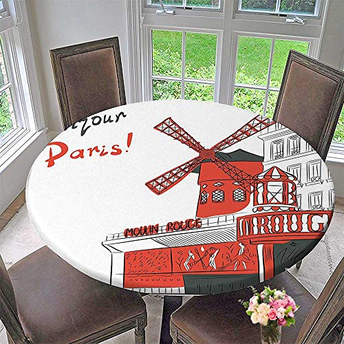 (Chateau Easy-Care Cloth Tablecloth Sketch Art of Urban Landscape with Cabaret Moulin Rouge in Paris Modern City for Home, Party, Wedding 43.5