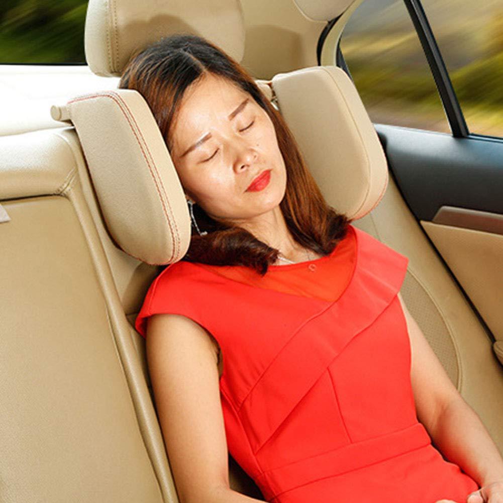 PU-Leder Autositz-Kopfst/ütze hochelastisches Nylon weiches Kissen Autositz-Schlafkissen Nackenkissen geeignet f/ür Erwachsene und Kinder verstellbare Seitenunterst/ützung Reisekissen