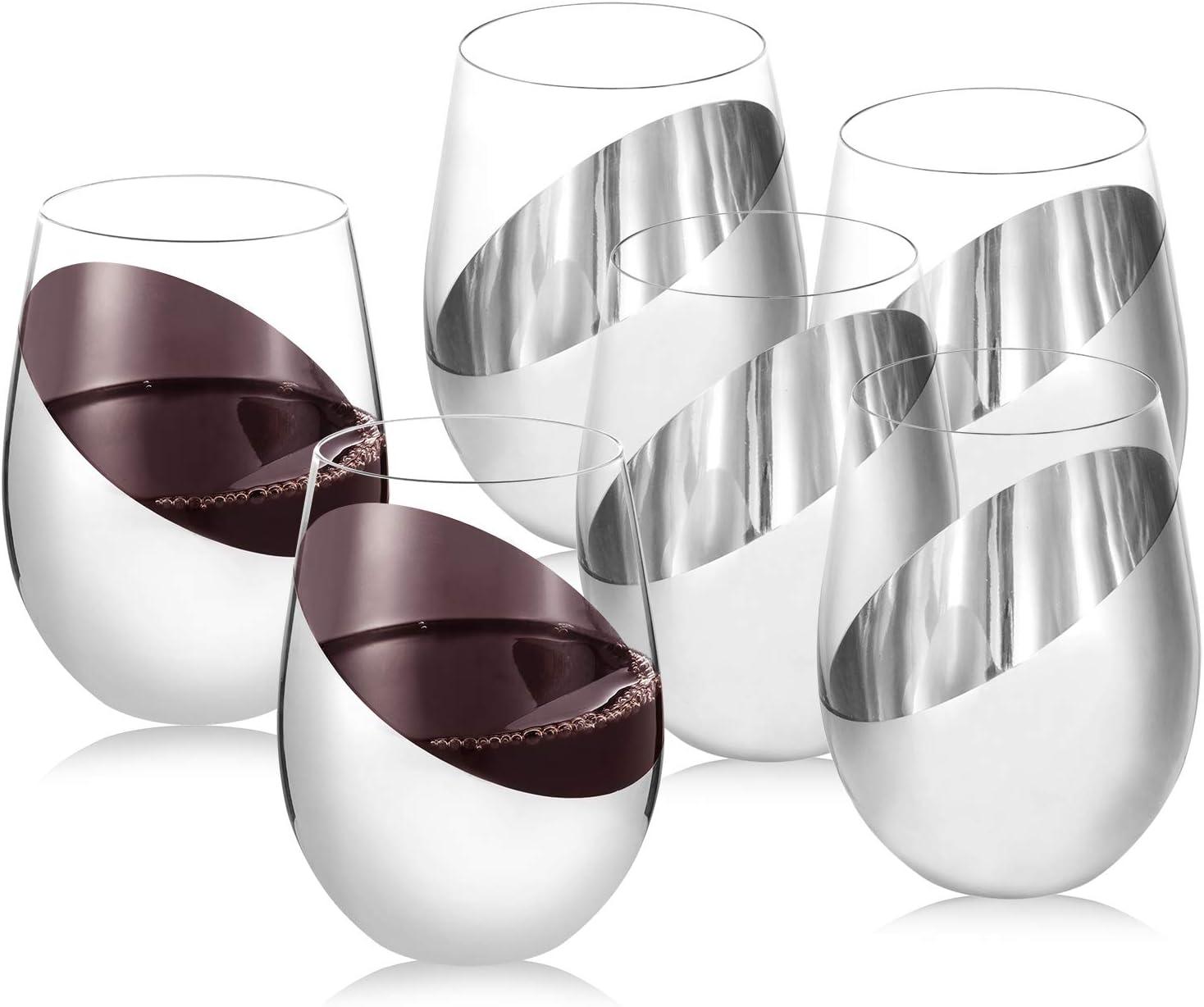 MyGift Modern Tilted Silver Tone Metallic Stemless Wine Glasses, Beverage Drinkware Tumbler Cups, Set of 6