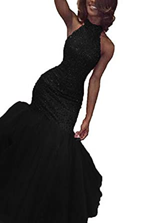 Uryouthstyle 2017 Sparkly Long Prom Gowns Mermaid Puffy Evening Dresses US2 Black
