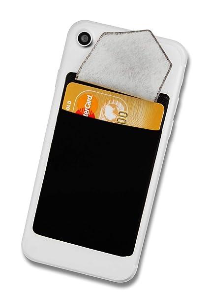 Cardsock - Reutilizable Porta Tarjetas - Tarjetero movil Adhesivo, Bloqueo RFID Cartera para movil con 2 Bolsillo en Negro