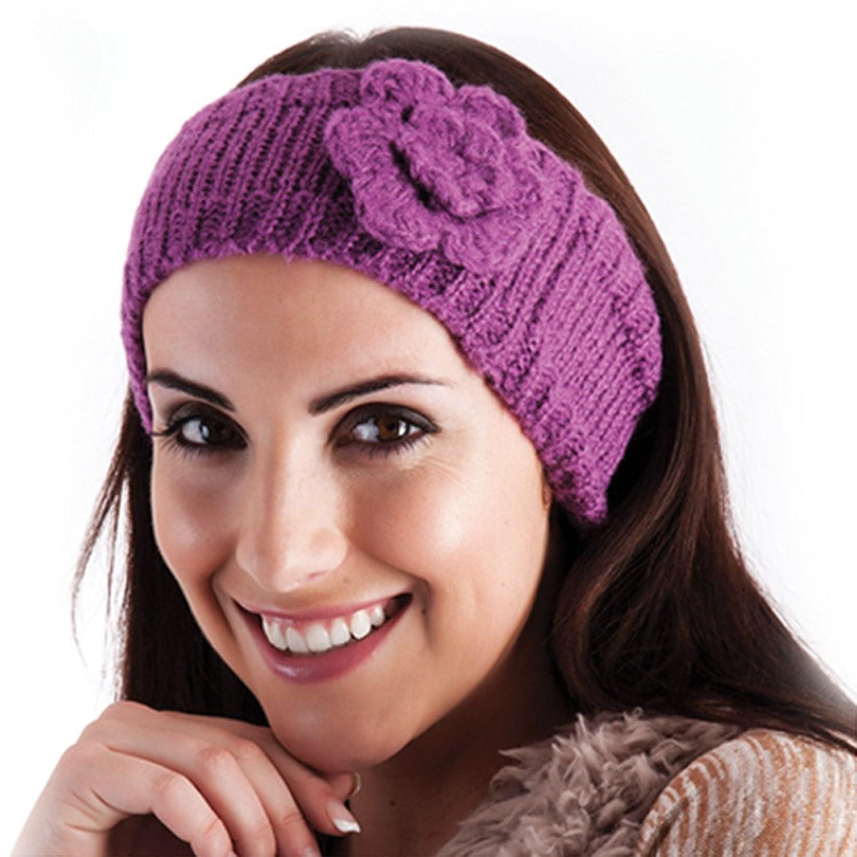 RJM Damen Stirnband, Rippenstrick mit Lurexanteil und Strickblume, Einheitsgröße