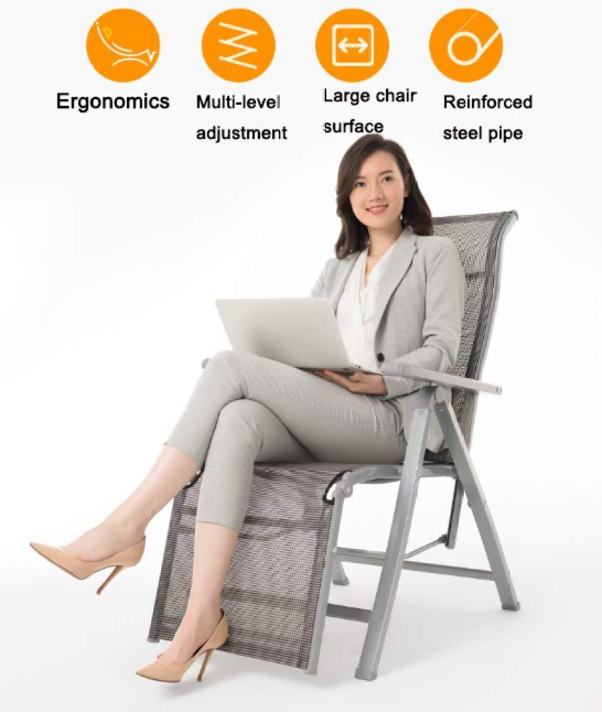 XCJJ fällbar, svullfri chaiselongue, lätt solstol med justerbart ryggstöd, andas, halkfri för trädgårdsterrassdäck stöd 440 lbs, D, D D