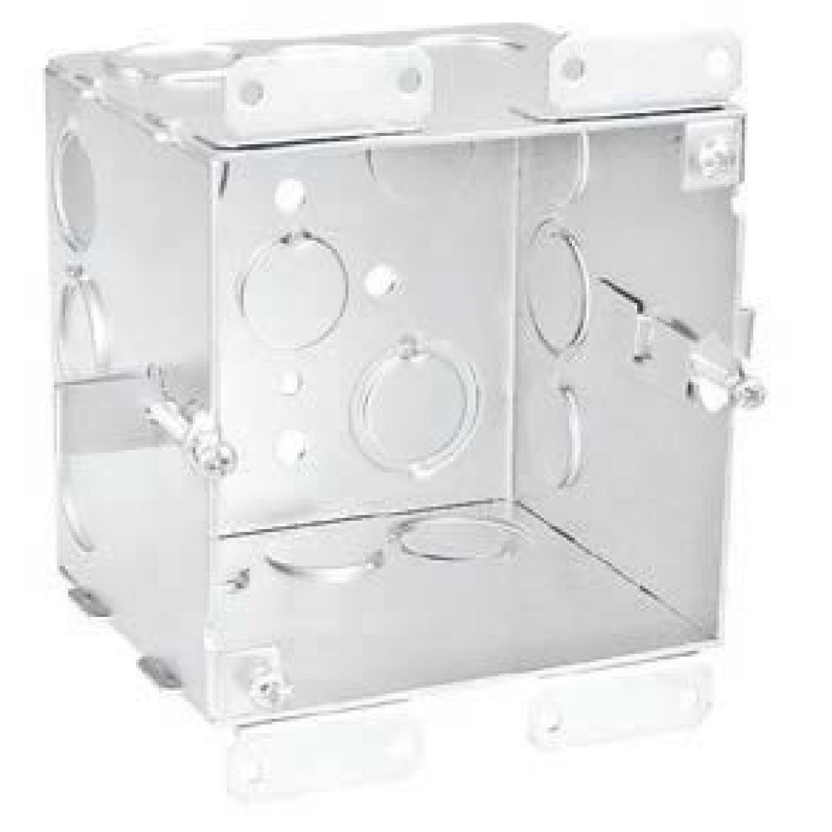 2 Pcs, 4'' Square Old Work Cut-In Box, 1-1/2 In. Deep, (6) 1/2 In. & (6) 1/2-3/4 In. Side Knockouts, .0625 Galvanized Steel to Add Devices, Speakers, Strobes, Alarms, & Devices to Hollow Walls
