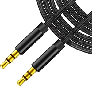 3.5mm Aux Cable (3.3ft/1m,Hi-Fi Sound), Audio Auxiliary Input Adapter Male to Male AUX Cord for Headphones, Car, Home Stereos, Speaker, iPhone, iPad, iPod 2 Pack