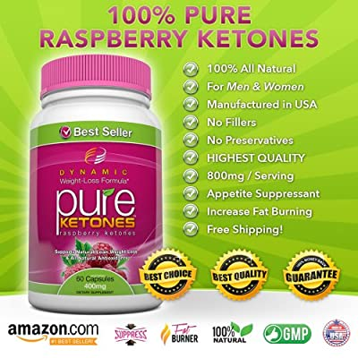 PURE KETONES Raspberry Ketones, 400 mg Per Serving, 60 Vegetarian Capsules. 100% Pure All Natural Lean Weight Loss Appetite Suppressant Supplement for Men and Women. Max Pure Raspberry Ketones Per Capsule. Full Double-Strength 30-Day Supply. from Dynamic