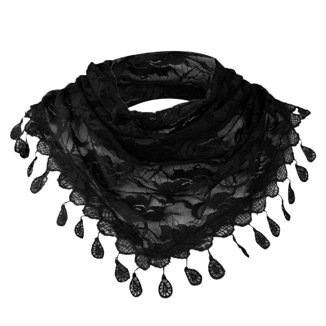 TiTCool Womens Rose Floral Lace Tassel Hollow Scarf Shawl Lightweight Flowy Pure Color Scarves Clearance Sale