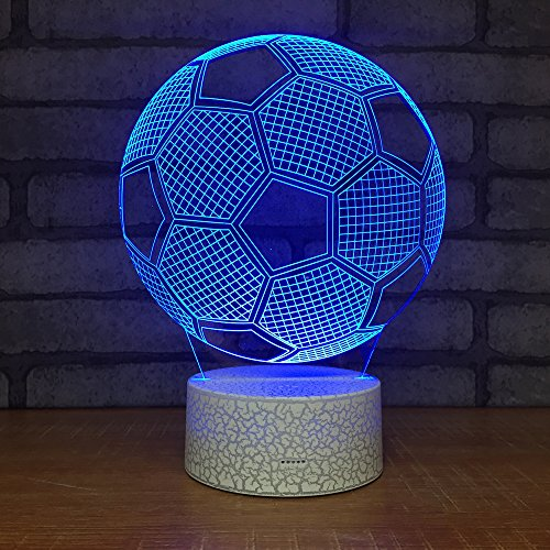 (Circle Football Soccer Shape 3D Optical Illusion Lamp 7 Colors Change Touch Button and 20 Keys Remote Controller LED Night Light Toys for Children Kids)