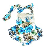 3 Style Baby Girl Lace Tassel Dress Backless Halter Ruffled Romper With Headband (12-18 M, Blue+Lace)