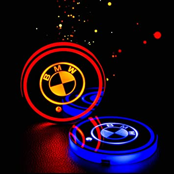 Goodream 2pcs Car Cup Holder Lights LED Logo Coaster Luminescent Pad Interior Atmosphere Lamp with 7 Colors Changing USB Charging for Honda