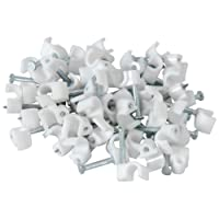 Telephone cable clips, white, bag of 100 ROUND