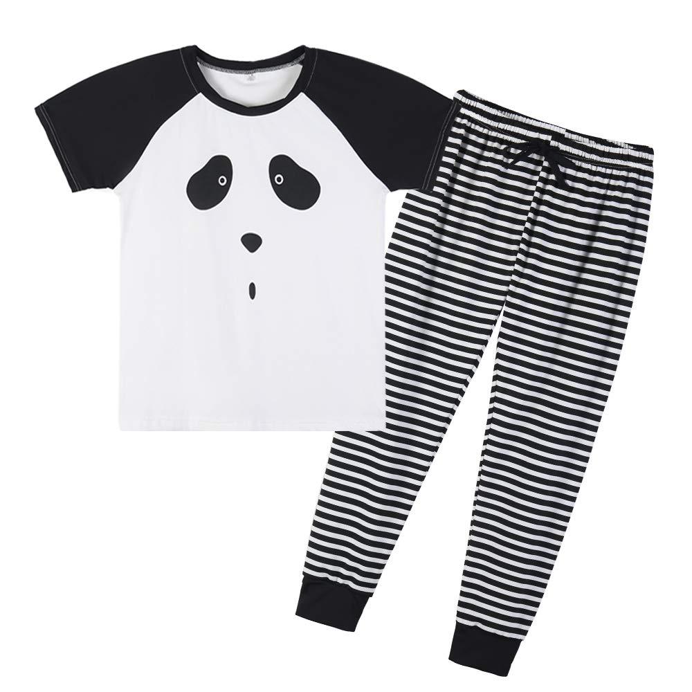 YIJIU Women Adorable Panda Print Sleepwear Short Sleeve Top and Pant Pajama Sets