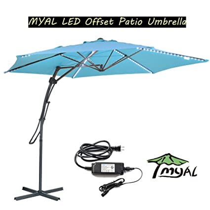 MYAL 10Ft Led Cantilever Umbrella Offset Patio Umbrella Outdoor Umbrella  With Light 180 LED Turquoise
