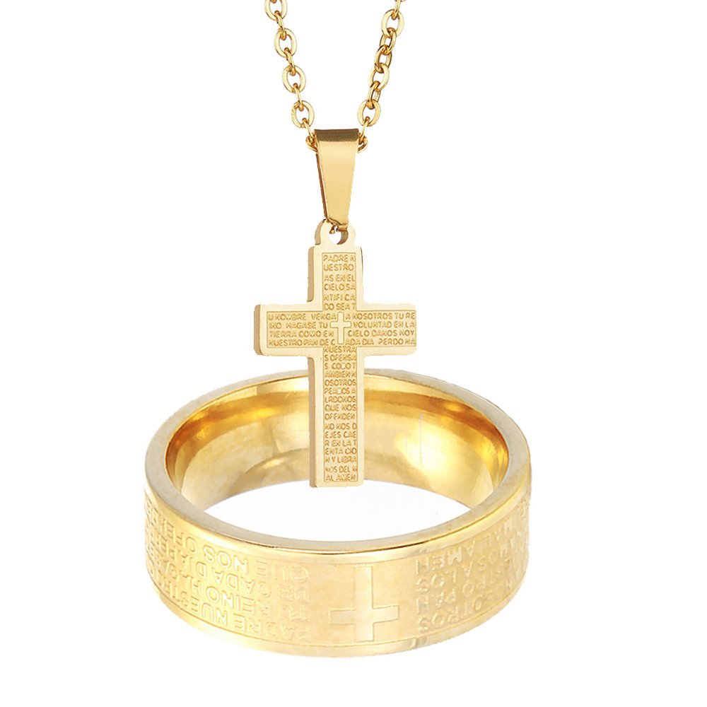 Amazon Nasama Stainless Steel Couples Rings Bible Verse Christian Lord's Prayer Cross Necklace Wedding Bands Engraved Praying Jewelry: Wedding Band With Cross Pendant At Websimilar.org