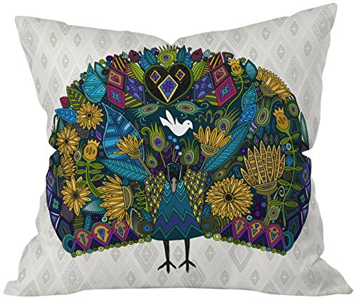 Colorful Cute Peacock Throw Pillow