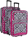 Ever Moda Black Damask 2 Piece Luggage Set (Pink)