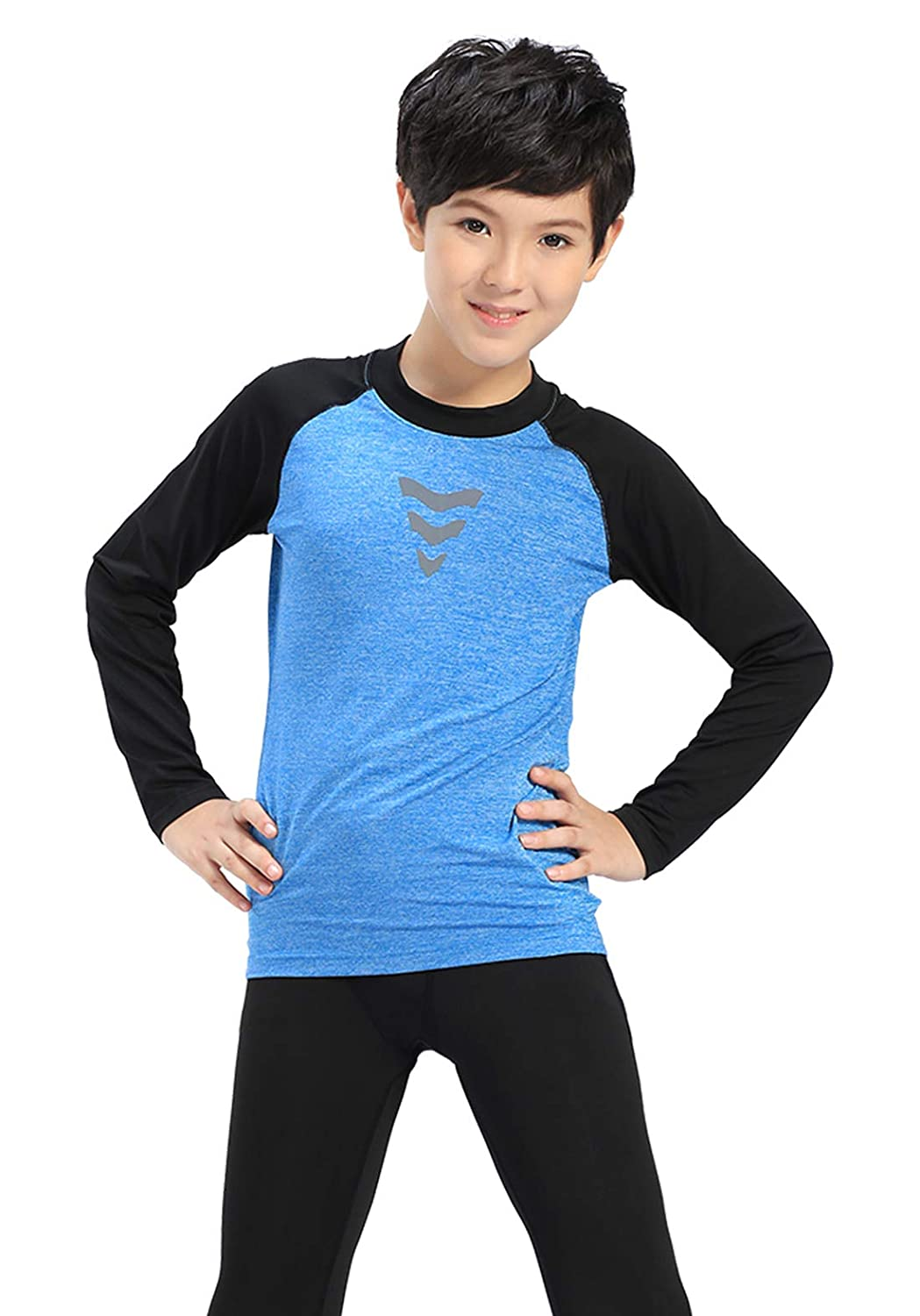 Happy Cherry Youth Compression Sport Shirt Long Sleeve Athletic Base Layer Top