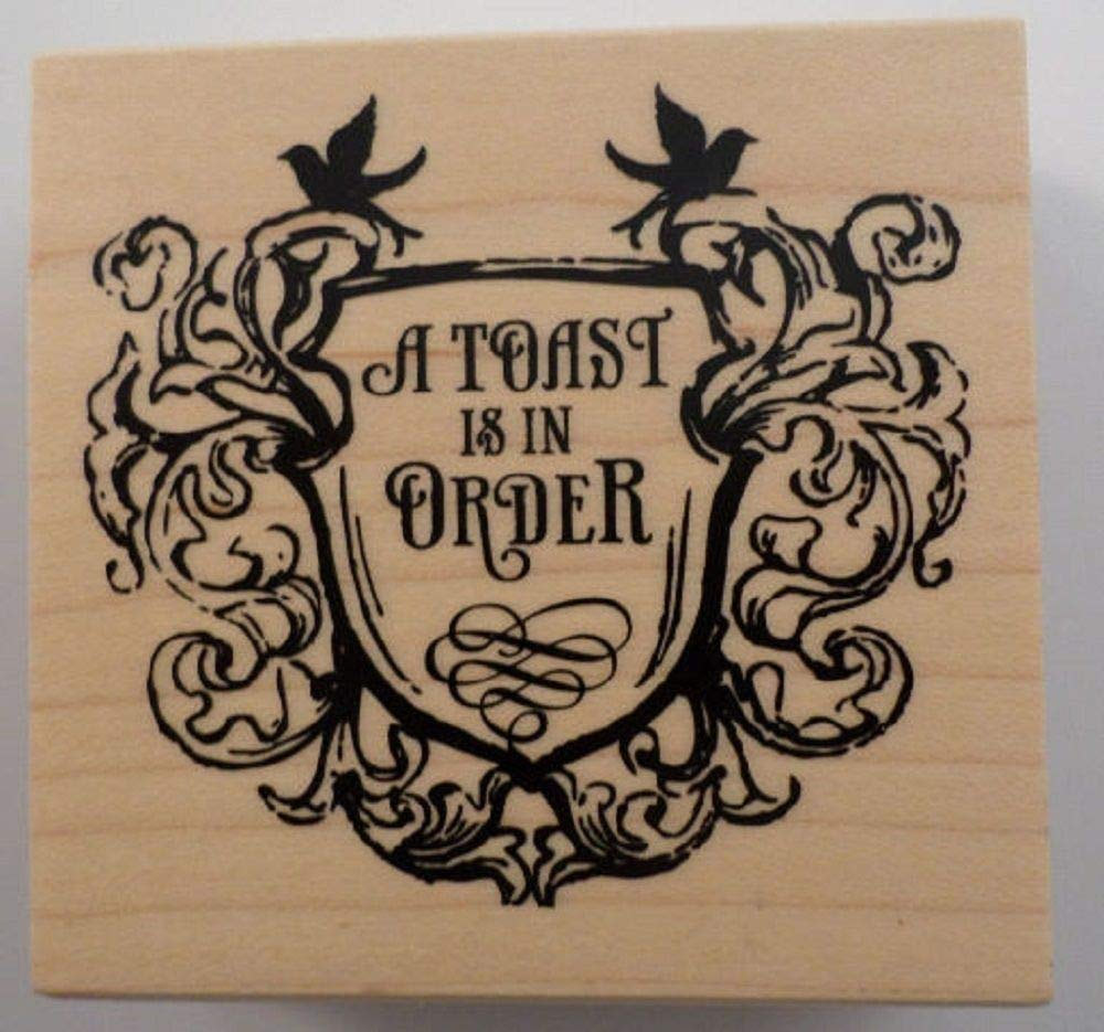 ShopForAllYou Stamping & Embossing A Toast is in Order Sheild Crest Celebrate Wooden Rubber Stamp by AllStamp