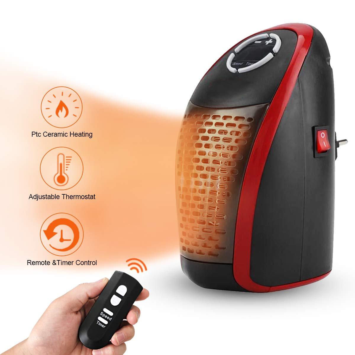 AMAES Mini Céramique Electrique Radiateur 400W Prise/Réglable/Thermostat/Télécommande/Minuterie Une Utilisation en Intérieur