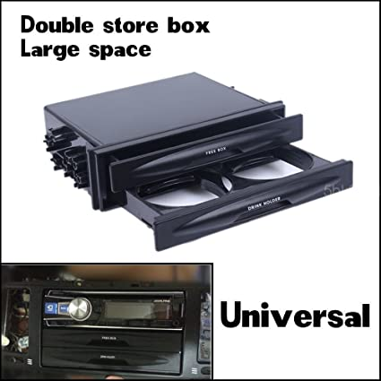 Car Universal Double Din Radio Pocket Kit w//Drink-Cup Holder //Storage Box Well
