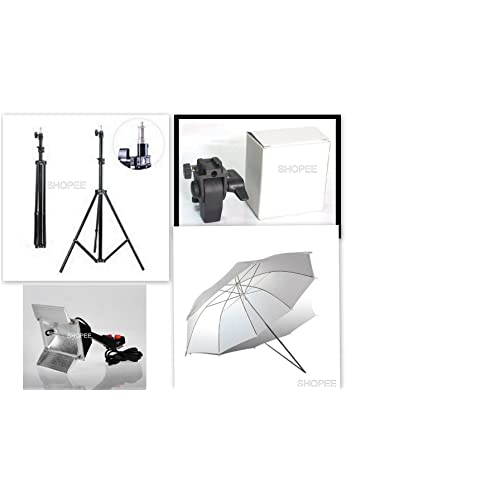 SHOPEE Studio Home 33 Umbrella Stand Setup With Sungun Adapter B-Bracket And Stand 4 Pc Set with Continuous / Video Light with 1000 Watt Halogen Tube