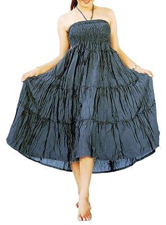 5a71e0ea2 Siam Secrets Women's Ruffle Long Skirt Gypsy Summer Dress 100% Rayon Grey
