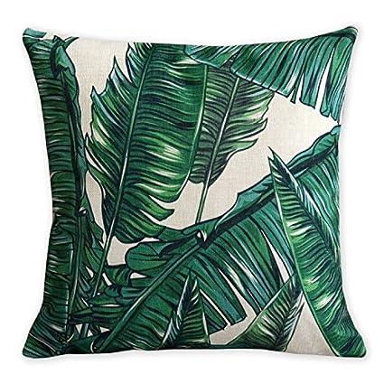 American almohada flamencos y hoja de palmera arte moderno lino y algodón funda de almohada cómodo