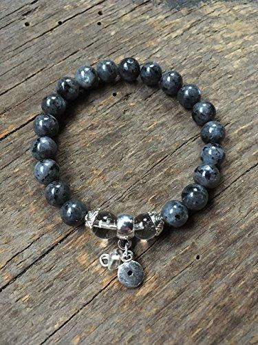 Labradorite Gemstone Bracelet, Crystal Quartz Stone, Brow Third Eye Chakra, Protection Intuition, 8MM Round ()