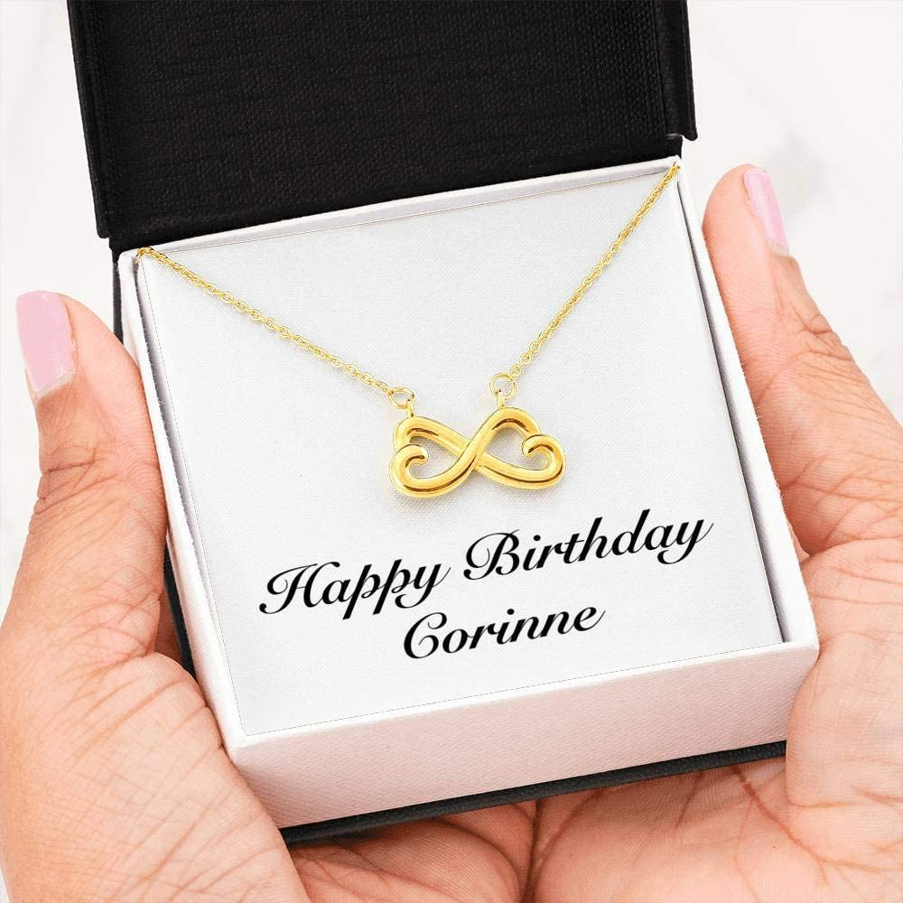 Infinity Heart Necklace 18k Yellow Gold Finish Personalized Name Unique Gifts Store Happy Birthday Corinne