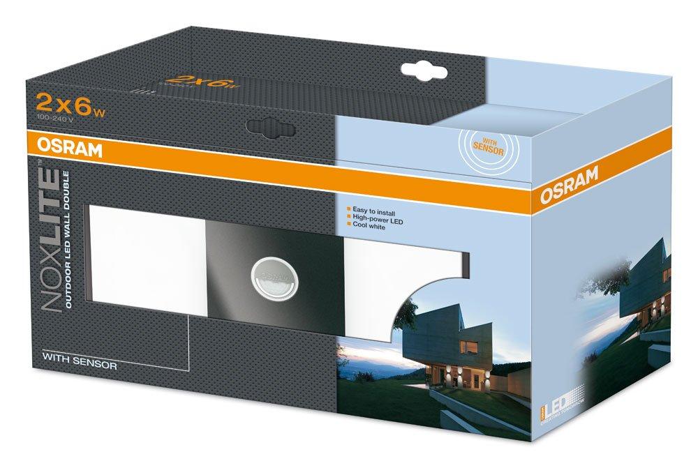 Osram 73280 Noxlite Wall - Lámpara doble de pared LED para exterior, con sensor de movimiento y claridad (2 bombillas, 6 W): Amazon.es: Iluminación