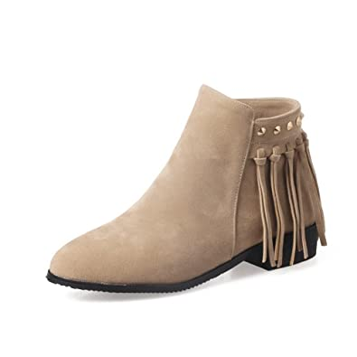 Womens Square Heels Fringed Ankle-High Suede Boots SXC02475