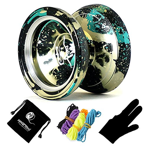 MAGICYOYO & Yostyle M002 April Unresponsive Yo-Yo Professional Metal Yoyo Black Green spalsh Silver with Bag, Three Finger (Black Metal Yoyo)